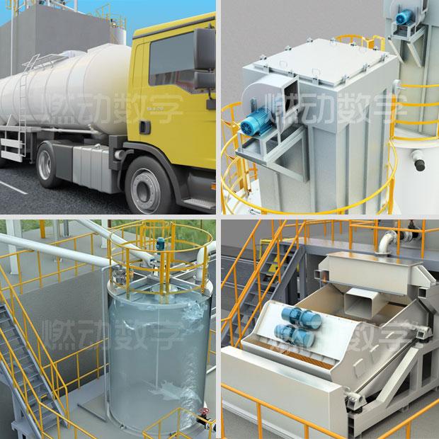 環保設備——石灰乳制備投加裝置三維動畫仿真演示