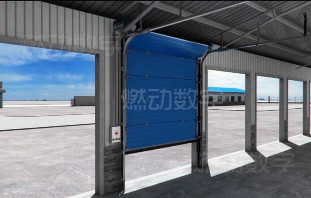 工业电动提升门、工业滑升门三维动画制作