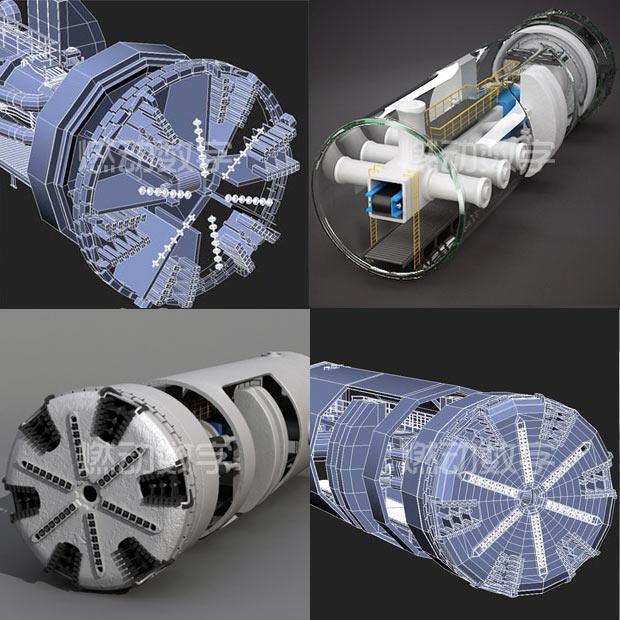盾构隧道掘进机三维动画仿真演示
